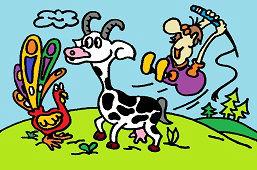 Koza rohatá a páv