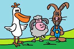Pelikán, ovečka a zajko