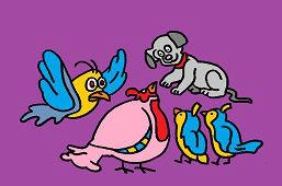 Vtáčiky a šteniatko