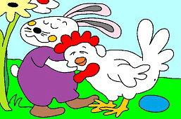 Verní kamaráti – zajačik a sliepočka