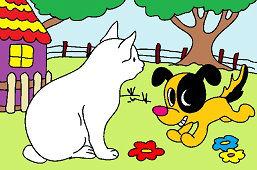 Mačka a šteňa