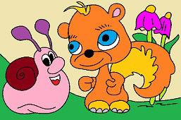 Slimáčik a veverička