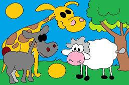 Žirafa, oslík a ovečka