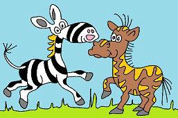 Zebra a kamarát koník