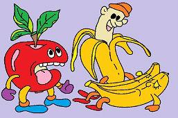 Jablko a banány