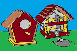 Vtáčie búdky a myš