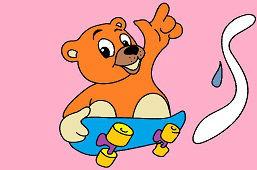 Méďa na skateboarde