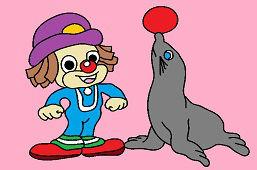 Mladý klaun a tuleň