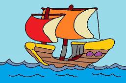 Loďka na vlnách