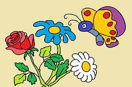 Kytička kvetov a motýľ