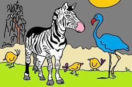 Zebra a plameniak