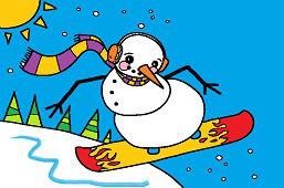 Snehuliak na snowboarde