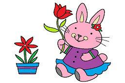 Zajačik s tulipánom