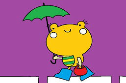 Žabka s dáždnikom