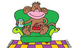 Opica pred televízorom
