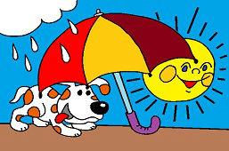 Psík pod dáždnikom