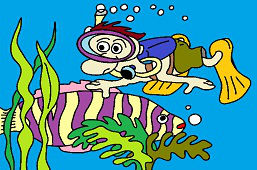 Potápač a ryba