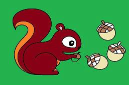 Veverička a žalude