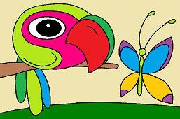 Vták Gabo a motýľ