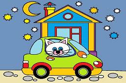 Mačička a nové auto