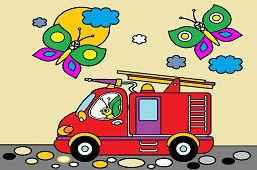 Motýle a hasičské auto