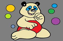 Medveď a farebné bubliny