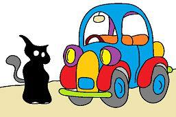 Čierna mačka a auto