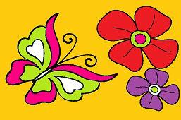 Motýľ a kvietky