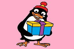 Tučniak s darčekom