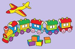 Hračky – Lietadlo, vláčik a kocky