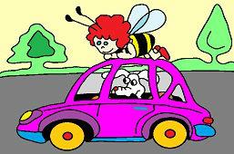 Včielka a psík v aute