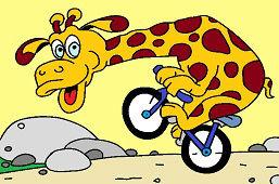 Žirafa na bicykli