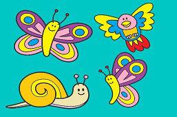 Slimáčik, vtáčik a motýle