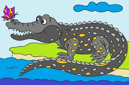 Krokodýl s motýľom