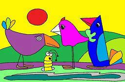 Vtáky a červík