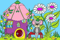 Myška a kvetinový domček