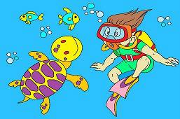 Potápač a korytnačka