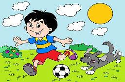 Chlapec s futbalovou loptou