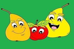 Veselé hrušky a jablko