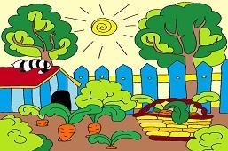 U babičky v záhrade