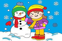 Dievčatko stavia snehuliaka