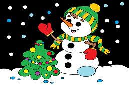 Snehuliak a vianočný stromček