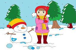 Dievčatko a snehuliačik