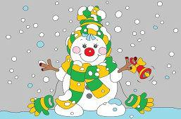 Snehuliak so zvončekom