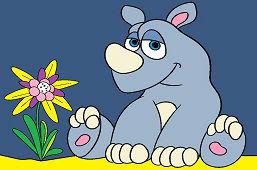 Mladý nosorožec a kvietok