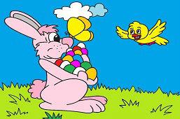 Veľkonočný zajačik s vajíčkami