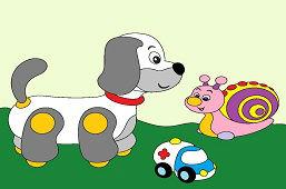 Psík, slimáčik a autíčko