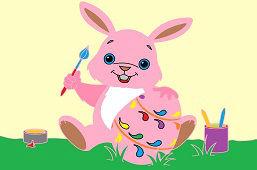 Zajačik a maľované vajíčko
