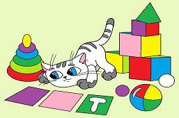 Mačička a hračky