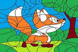 Malá líška v lese